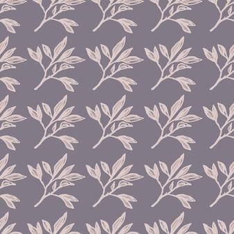 Modèle sans couture de branches stylisées florales minimalistes. impression botanique simple dans une palette pastel pourpre.