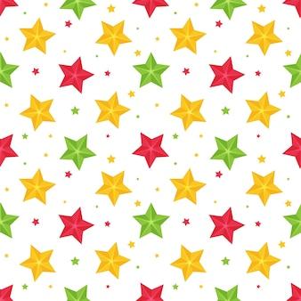 Modèle sans couture brillant avec étoiles multicolores