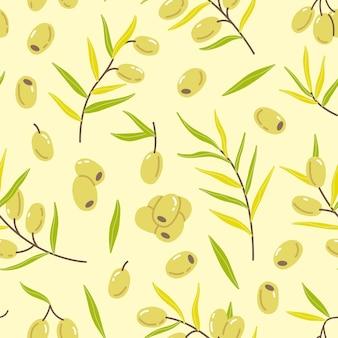 Modèle sans couture avec des brindilles et des feuilles d'olives dans un style plat simple et mignon de dessin animé dans des couleurs pastel
