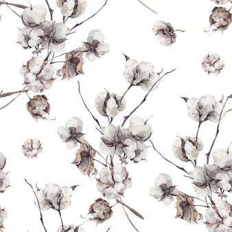 Modèle sans couture avec des brindilles et des fleurs de coton.