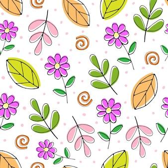 Modèle sans couture avec des brindilles de fleurs de dessin animé