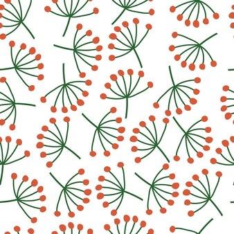 Modèle sans couture de brindilles d'hiver sur fond blanc. ambiance hivernale. illustration vectorielle dessinés à la main.