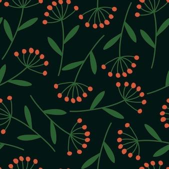 Modèle sans couture de brindilles d'hiver sur un fond sombre. ambiance hivernale. illustration vectorielle dessinés à la main.