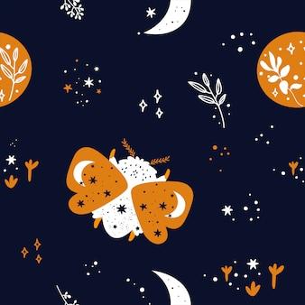 Modèle sans couture avec bug boho magique mignon, papillon, papillon, étoiles et lune