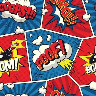 Modèle sans couture de bulles de bande dessinée
