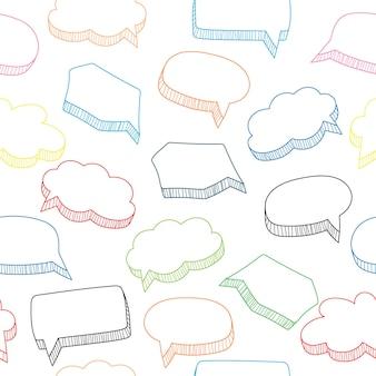 Modèle sans couture de bulles de discours de dessin animé, illustration vectorielle