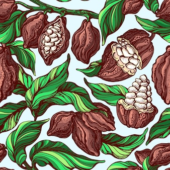 Modèle sans couture de cacao. branche botanique dessinée à la main, haricot, fruits tropicaux, feuille verte