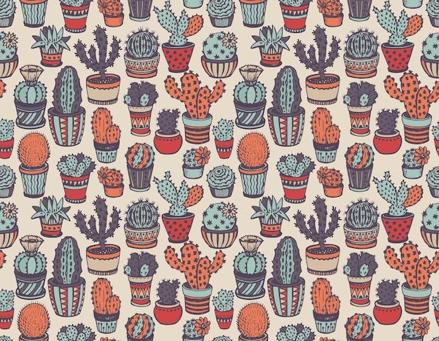 Modèle sans couture avec cactus dessiné à la main dans le style de croquis.