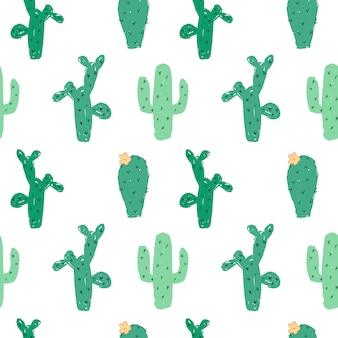 Modèle sans couture de cactus dessiné à la main.