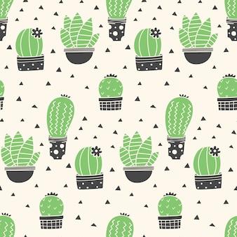 Modèle sans couture de cactus dessinés à la main