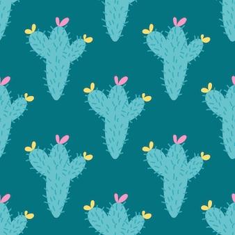 Modèle sans couture de cactus avec des fleurs sur un fond vert foncé dans un style plat