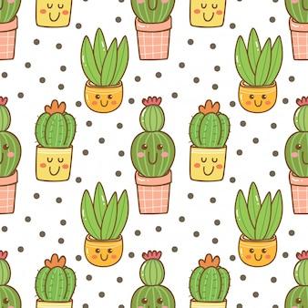 Modèle sans couture de cactus kawaii dessiné à la main