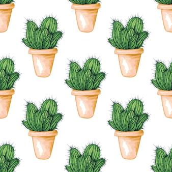 Modèle sans couture avec cactus mexicain comestible ou cactus