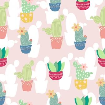 Modèle sans couture de cactus mignon