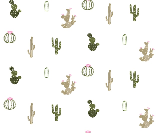 Modèle sans couture avec cactus mignon