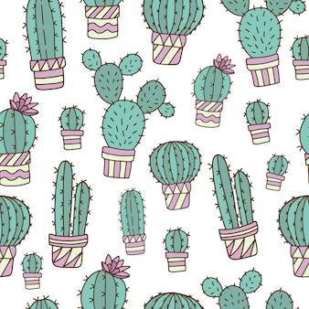 Modèle sans couture avec des cactus mignons