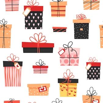 Modèle sans couture. cadeaux colorés, de nombreuses boîtes mignonnes différentes avec des arcs.