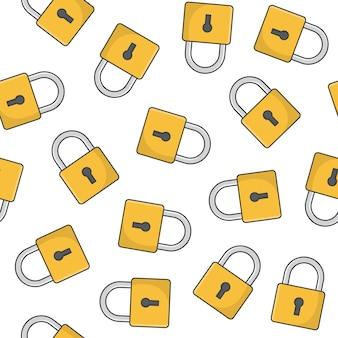 Modèle sans couture de cadenas sur un fond blanc. verrouillage cadenas icône illustration vectorielle