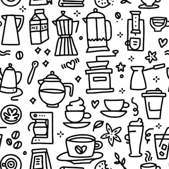 Modèle sans couture de café avec divers éléments linéaires doodle tasse moulin pot turc et lait