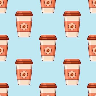 Modèle sans couture avec café à emporter