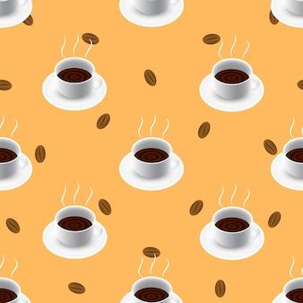 Modèle sans couture café avec des haricots.