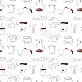Modèle sans couture de café. texture pour le menu du café, papier d'emballage de magasin.