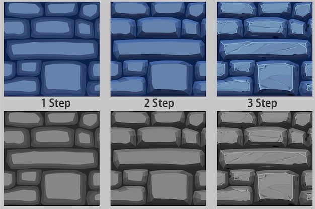 Modèle sans couture de cailloux, dessin étape par étape pavé de texture pour le papier peint.