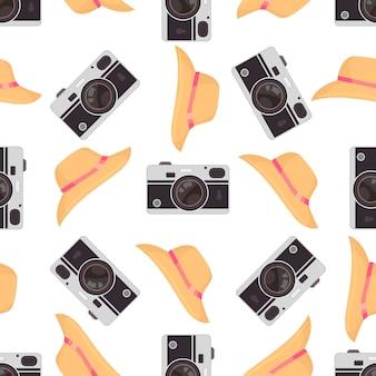 Modèle sans couture de caméra photo avec caméras rétro mignons.