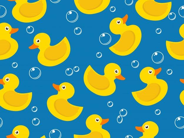 Modèle sans couture de canard en caoutchouc jaune