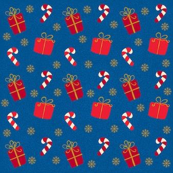 Modèle sans couture avec canne en bonbon et cadeaux
