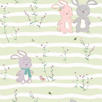 Modèle sans couture avec le caractère mignon des lapins heureux sur le jardin violet
