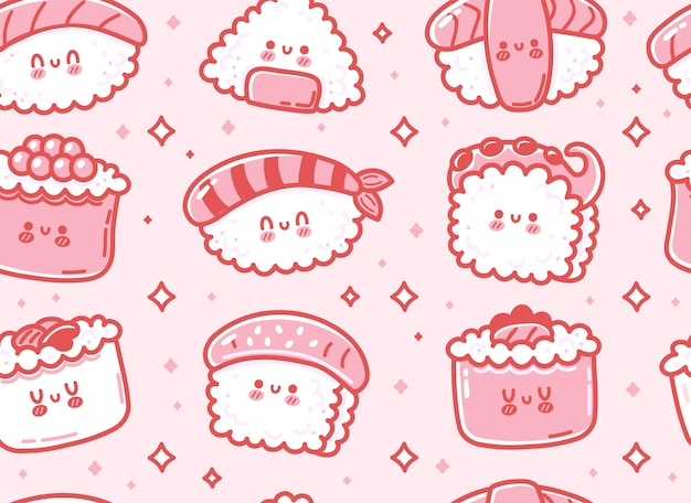 Modèle sans couture de caractère mignon sushi japonais asiatique drôle. icône d'illustration de personnage kawaii cartoon dessiné à la main de vecteur. sushi kawaii mignon, rouleau, concept de modèle sans couture de dessin animé de nourriture d'asie du japon