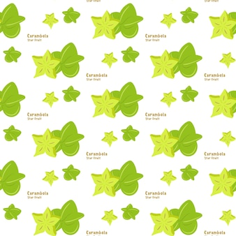 Modèle sans couture de carambole de fruits tropicaux exotiques ou carambole sur fond de couleur blanche, style plat, pour impression sur tissu ou papier. illustration vectorielle.
