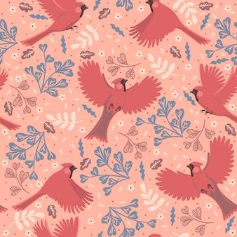 Modèle sans couture avec cardinaux rouges oiseaux.