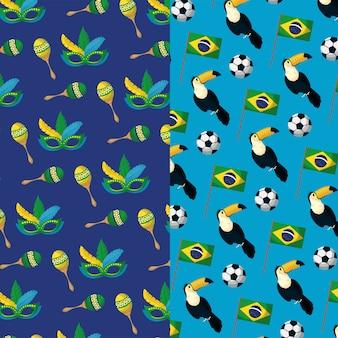 Modèle sans couture de carnaval du brésil avec masque et toucans
