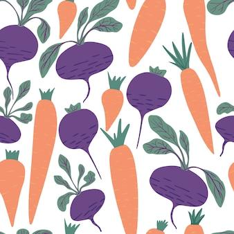 Modèle sans couture carotte et betterave dessinés à la main sur fond blanc.