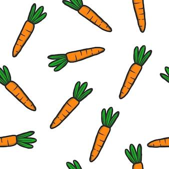 Modèle sans couture de carotte dessiné main