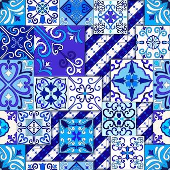Modèle sans couture de carreaux de maroc bleu et blanc.