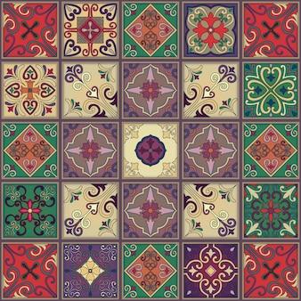 Modèle sans couture avec des carreaux portugais dans le style talavera.