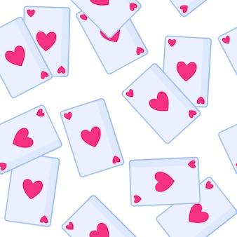 Modèle sans couture de cartes à jouer avec coeur pour le mariage ou la saint-valentin.