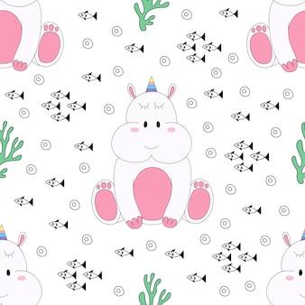 Modèle sans couture cartoon dessiné de licorne mignon modèle sans couture.