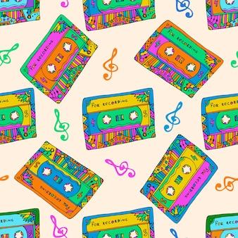 Modèle sans couture avec des cassettes colorées. style hippie. doodle texture musicale pour l'emballage, le tissu. vecteur