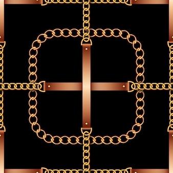 Modèle sans couture avec des ceintures, des chaînes et de la corde sur fond noir