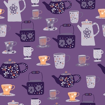 Modèle sans couture de cérémonie du thé gris et orange. ornement de tasses et théières doodle sur fond violet.