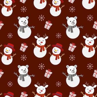 Modèle sans couture de cerf et bonhomme de neige ours.