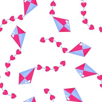 Modèle sans couture de cerf-volant avec des coeurs pour le mariage ou la saint-valentin.
