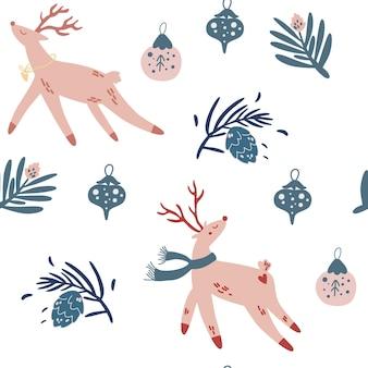 Modèle sans couture de cerfs et jouets de noël. conception pour le tissu, le textile et la décoration. fond de personnage de dessin animé mignon vacances de noël. illustration vectorielle.