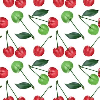Modèle sans couture de cerise. cerises mûres rouges douces isolées