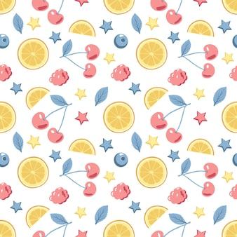 Modèle sans couture avec cerises et citrons