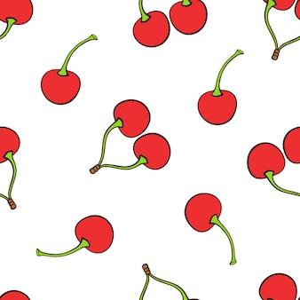 Modèle sans couture avec des cerises jumelles et une rouge avec une tige sur fond blanc illustration vectorielle